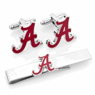 Alabama Crimson Tide Cufflinks and Tie Bar Gift Set - Red