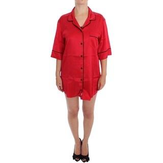 Dolce & Gabbana Red Silk Stretch Oversize Sleepwear Shirt - L