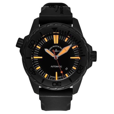 Zeno men's 6603-BK-A15 'divers' black/orange dial black rubber strap automatic watch