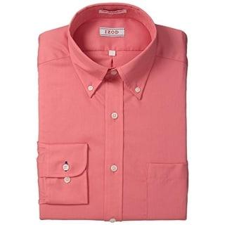 Izod Mens Twill Button-Down Collar Dress Shirt