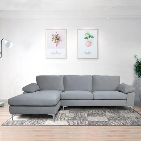 "Global Pronex Modern Velvet L-shaped Sectional Sofa - 103.5""L x 52""W x 30.3""H"