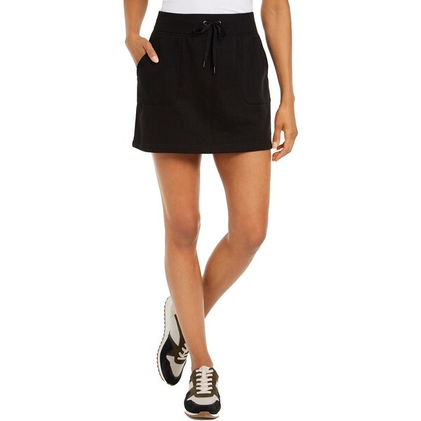 Ideology Women's Drawstring Wasit Fitness Skort Black Size Extra Small - X-Small