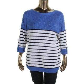 Karen Scott Womens Plus Cotton Cable Knit Pullover Sweater - 1X