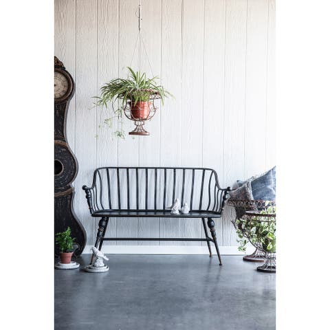 A&B Home Warren Black Metal Outdoor Garden Settee