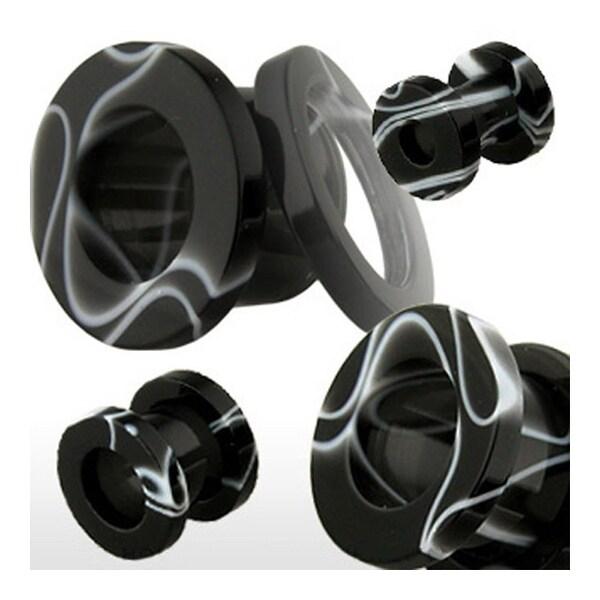 Screw Fit UV Marble Swirl Black Plug (Sold Individually)
