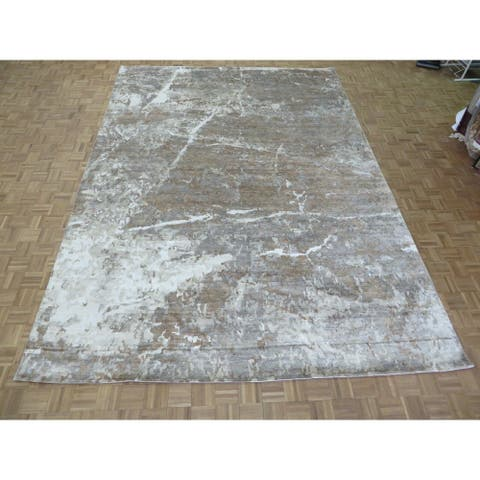 """Hand Knotted Brown Modern with Silk Blend Oriental Rug (10'2"""" x 14'3"""") - 10'2"""" x 14'3"""""""