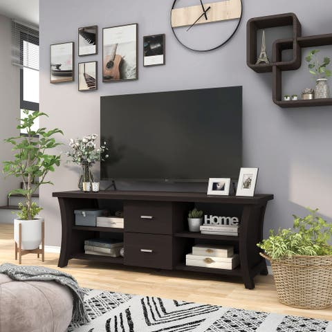 Furniture of America Lynarra 60-inch 2-drawer TV Console with Open Shelving