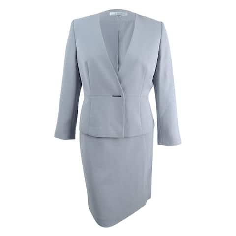 Tahari ASL Women's Bar-Closure Skirt Suit (16, Silver) - Silver - 16