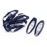 Synthetic Fabric Wrapped DIY Craft Snap Hair Clips Barrettes Dark Blue 10pcs