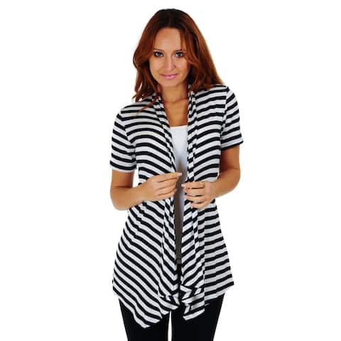 Simply Ravishing Stripe Short Sleeve Open Drape Cardigan (Size: S-3X)