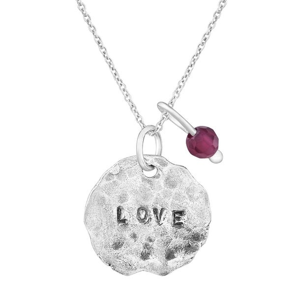 'Love' Charm Pendant with Natural Garnet in Sterling Silver - Red