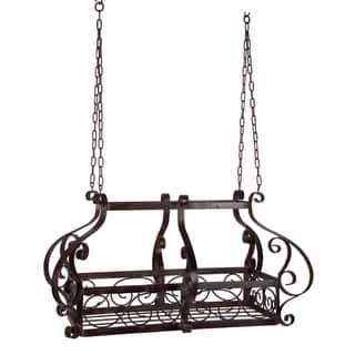 "35"" Elaborate Hanging Wrought Iron Decorative Kitchen Pot Rack|https://ak1.ostkcdn.com/images/products/is/images/direct/1f5ae855dbb1b03484867226d3b1a37d6073a5aa/35%22-Elaborate-Hanging-Wrought-Iron-Decorative-Kitchen-Pot-Rack.jpg?impolicy=medium"