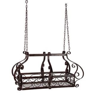 "35"" Elaborate Hanging Wrought Iron Decorative Kitchen Pot Rack - brown"