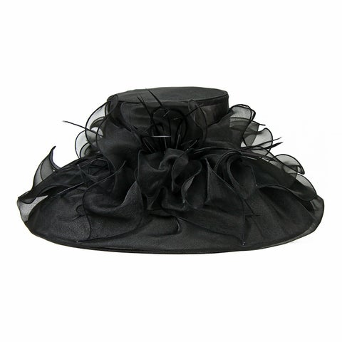 Chic Headwear Organza Hat w/ Large Brim Ruffles and Feathers - One size