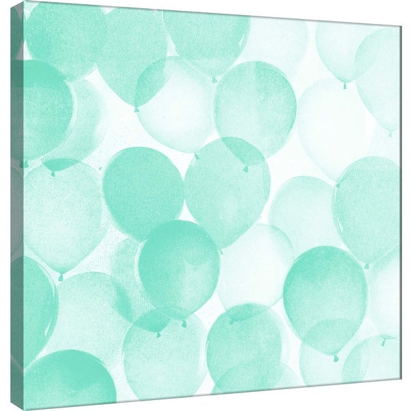 """PTM Images 9-101169 PTM Canvas Collection 12"""" x 12"""" - """"Airy Balloons in Mint A"""" Giclee Celebrations Art Print on Canvas"""