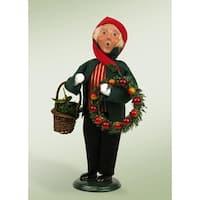"9.75"" Festive Seasons Boy with Wreaths Crier Christmas Figure - RED"