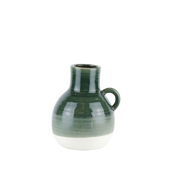 Ribbed Patterned Ceramic Vase with Handle, Small, Green and White