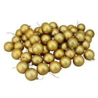 "60ct Vegas Gold Shatterproof Matte Christmas Ball Ornaments 2.5"" (60mm)"