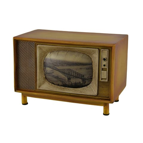 Brown Vintage Finish Retro Console Television Coin Bank - 4.75 X 6.75 X 4 inches