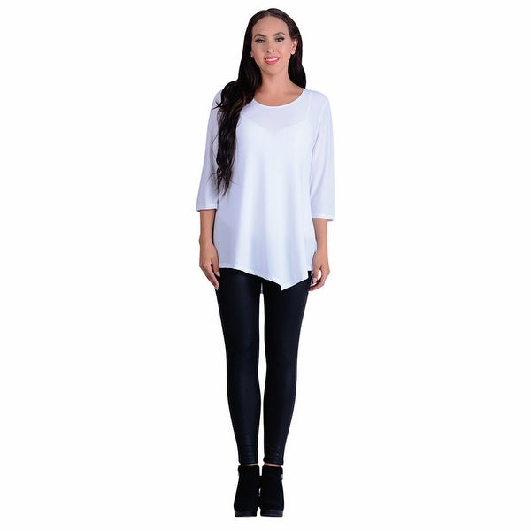 Women's Tunic Top - Asymmetrical Hem 3/4 Sleeve Scoop Neck Shirt