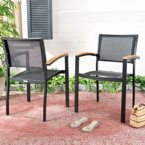 "Safavieh Outdoor Living Kaelan Chair - Black / Brown (Set of 2) - 22.2""x21.3""x33"""