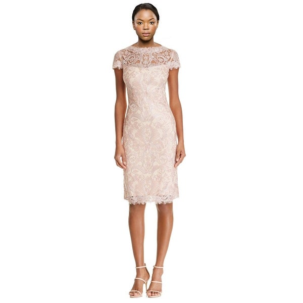 0fcfcfde1b1 Shop Tadashi Shoji Cap Sleeve Corded Lace Sheath Cocktail Dress - 8 ...