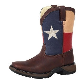 "Durango Western Boot Boys 8"" Texas Flag Square Rocker Heel Brown"