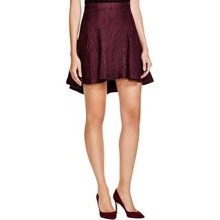 Alice + Olivia Womens Sibel Flare Skirt Wool Blend Textured