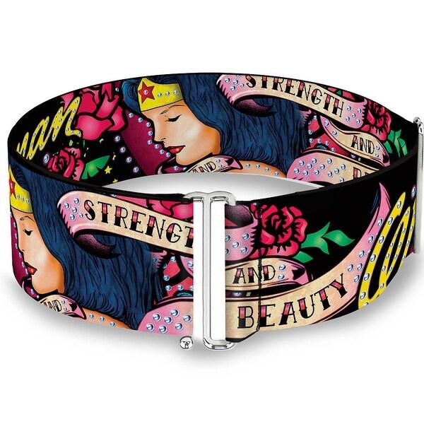 Wonder Woman Roses Strength And Beauty Black Pink Fade One Size Cinch Waist Sinch Waist Belt ONE SIZE