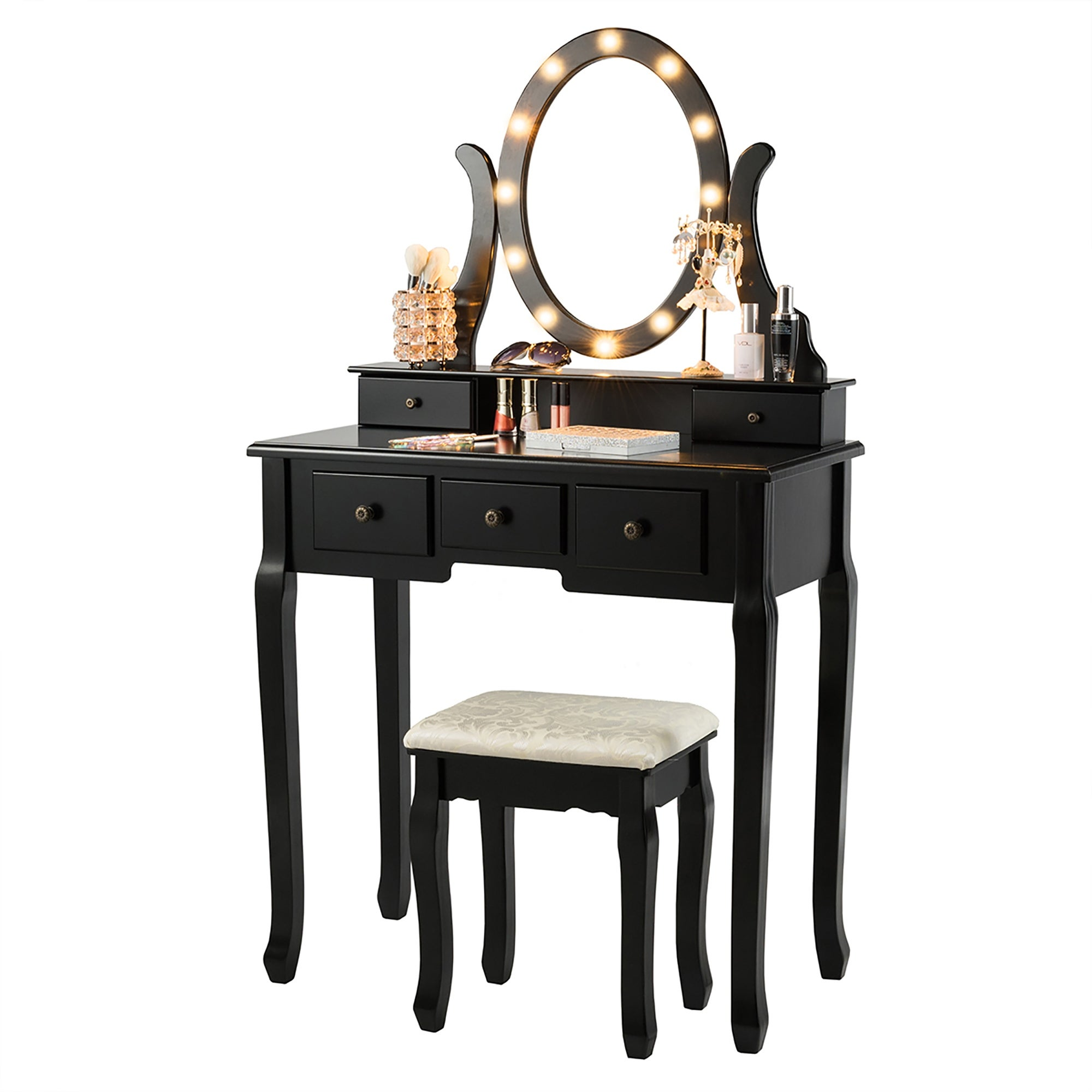 Shop Makeup Dressing Table Vanity Table Set With 12 Led Lights Overstock 32330751