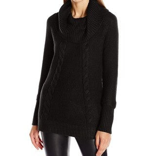 Calvin Klein NEW Black Womens Size Large L Cable Knit Cowl Neck Sweater