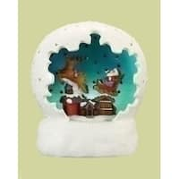 "4"" Battery Operated LED Lighted Santa Claus Sleigh Ride Christmas Table Top Dome - WHITE"