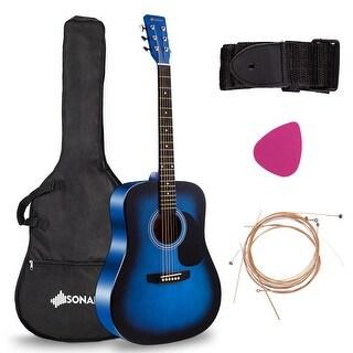 "Costway Sonart 41"" Acoustic Folk Guitar 6 String w/Case Strap Pick Strings for Beginners - BLue"