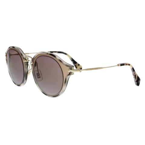 MIU MIU MU51SS VA86X1 Matte Gold/Grey Havana Round Sunglasses - No Size