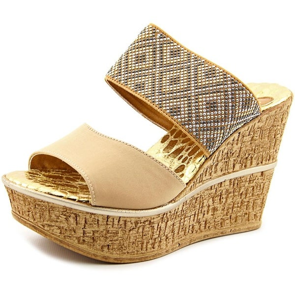 Love and Liberty Sylvie Women Open Toe Canvas Gold Wedge Sandal