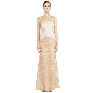Tadashi Shoji Embroidered Corded Lace Long Evening Gown Dress Ivory/Gold