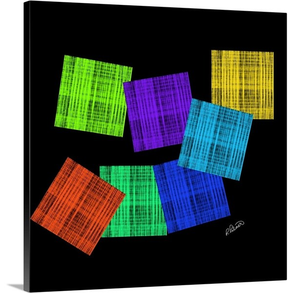 """""""Colored Squares On Black"""" Canvas Wall Art"""