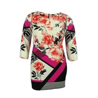 Alfani Women's 3/4 Sleeve Floral Print Jersey Tunic Top