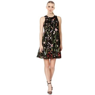 Calvin Klein Petite Floral Embroidered Sleeveless Trapeze Cocktail Dress