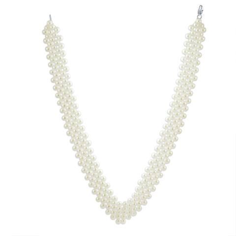 Bridal Collar Necklace V Shaped Imitation Pearl Rhodium Plated 16 Inch
