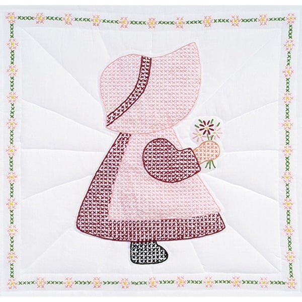 "Stamped White Quilt Blocks 18""X18"" 6/Pkg-Sunbonnet Girl"