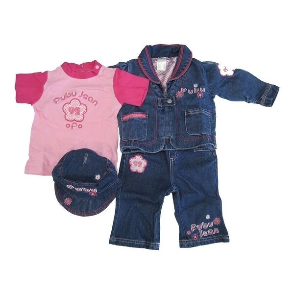 FUBU Baby Girls Blue Denim Jacket Hat Pants Pink T-Shirt 4 Pc Set 12-24M