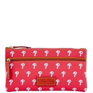Dooney & Bourke MLB Phillies Double Zip Flat Pouch (Introduced by Dooney & Bourke at $85 in Oct 2015) - Red