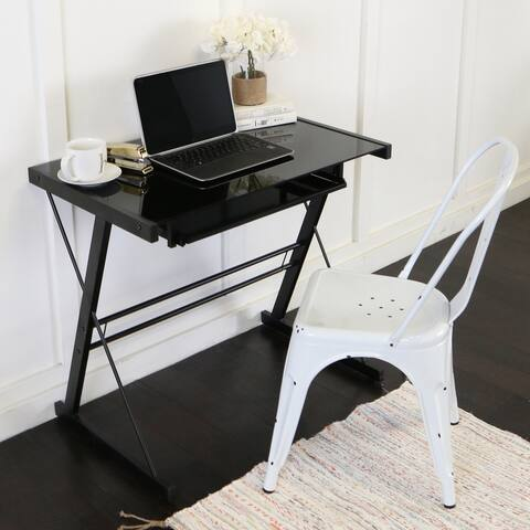 Metal and Glass Black Computer Desk with Keyboard Tray