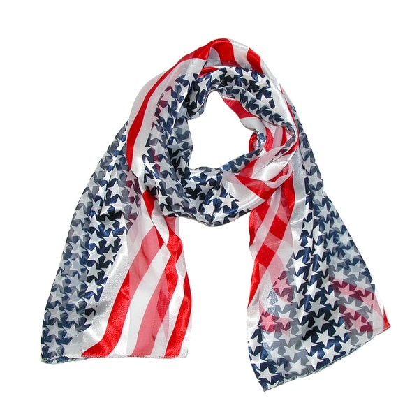 CTM® Women's Satin Long American Flag Scarf - One size