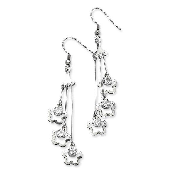 Chisel Stainless Steel Clovers with CZ Stones Dangle Earrings