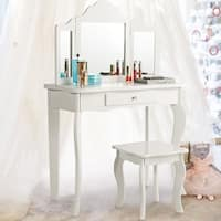 Costway Vanity Table Set Makeup Dressing Table Kids Girls Stool Mirror - White