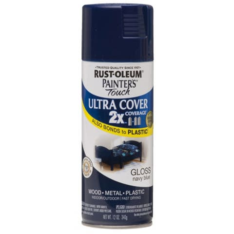 Rust-Oleum 249098 Painter's Touch 2x Spray Paint, 12 Oz, Gloss Navy Blue