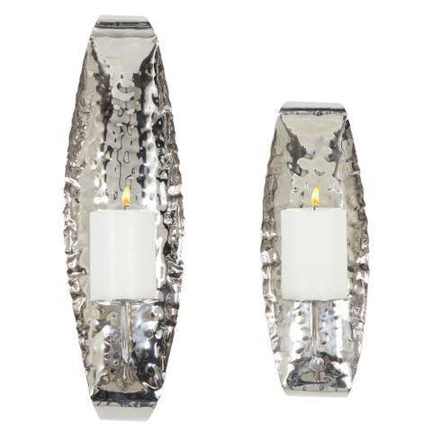 Silver Stainless Steel Contemporary Wall Sconce (Set of 2) - 6 x 6 x 19
