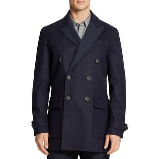 Hardy Amies Mens Reversible Wool Peacoat French Navy Blue Large L